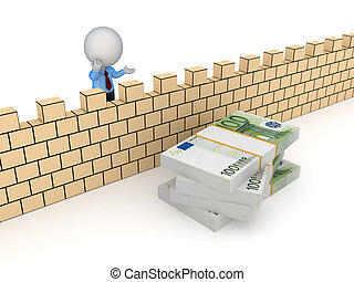 3d small person behind the wall and stack of euro