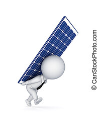 3d small person with a solar battery on a back.Isolated on...
