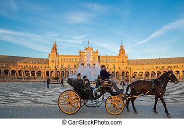 Seville - SEVILLE, SPAIN - MARCH 15: Unidentified tourists...