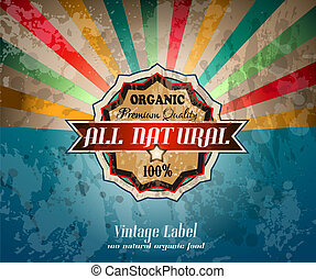 Quality vintage label for premium Restaurant with old...