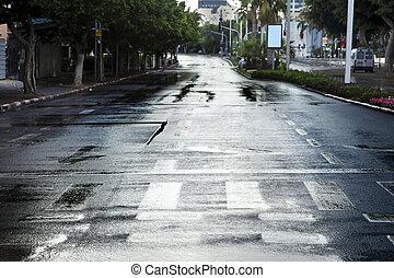 Empty Wet Winter Street - Early winter morning in Tel-Aviv,...