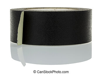 Isolated Gaffer Tape - Black gaffer tape and its reflection,...