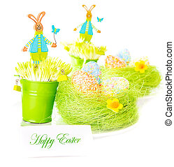 Easter greeting card - Beautiful colorful chicken eggs in...