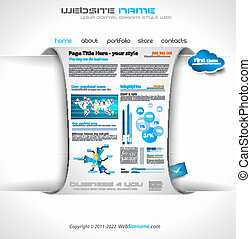 Modern web templave with paper style background and...