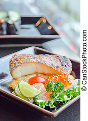 salad and fish - fresh salad with fish egg and Japanese...