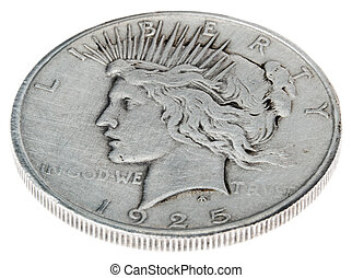 Peace Dollar - Heads High Angle - High angle view of the...