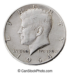 Silver Kennedy Half Dollar - Heads Frontal - Frontal view of...
