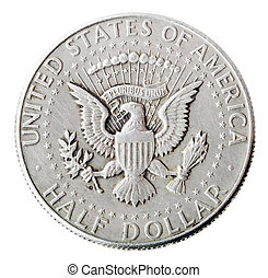 Silver Kennedy Half Dollar - Tails Frontal - Frontal view of...