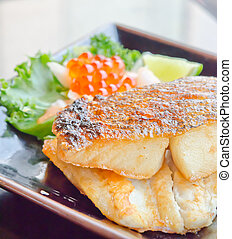 grilled cod fish - Japanese grilled cod fish and fresh salad...