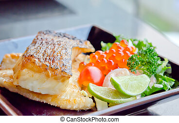 seafood - Japanese grilled cod fish and fresh salad with...