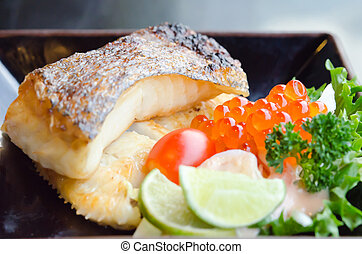 grilled cod fish - fresh salad with fish egg and Japanese...