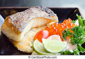 grillé, morue, fish