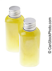 Isolated Green Gel Bottles - High angle - High angle view of...