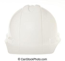 aislado, duro, sombrero, -, frontal, blanco