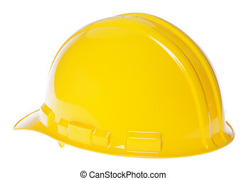 Isolated Hard Hat - 45° Back Yellow - 45° back view of a...