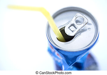 Isolated Crushed Soda Can with Straw