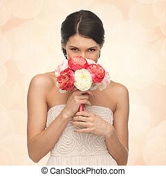 mulher, cheirando, buquet, flores