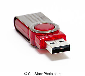 USB Key - USB flash storage device, red collapsible usb key