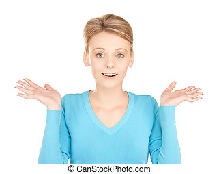 woman shrugging or doubting - picture of playful unsure...