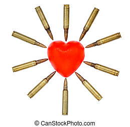 A heart shaped bar of soap is surrounded by 556 cartridges...