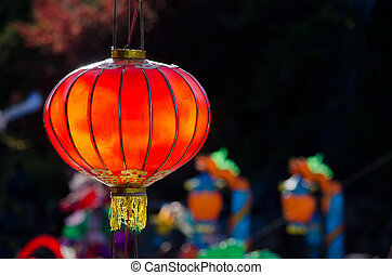 Beautiful red chinese lantern - Red chinese lantern on dark...