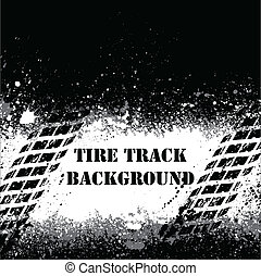 Tire track background - White spray paint blots and tire...