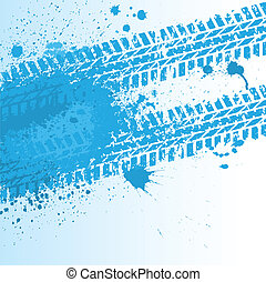 Blue tire track on white - Blue ink blots with tire track