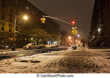 Snow at Manhattan Avenue New-York - New-York, USA - November...