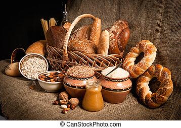 saudável, refeição, pão, cereais