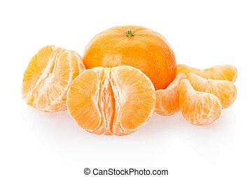 Tangerine fruits on white