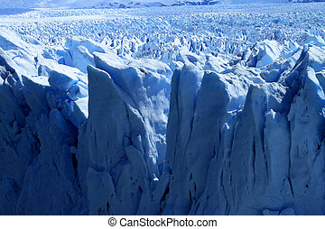 A view of a glacier in Patagonia, South America.