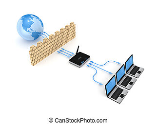 Firewall concept.Isolated on white background.3d rendered...