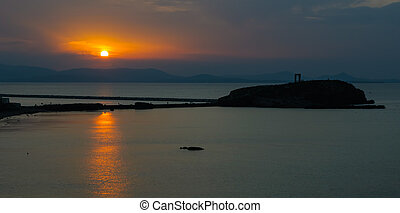 Portara gate at sunset, Naxos, Greece
