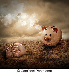 Lucky Piggy Bank Finds Lost Penny in Dirt - A gold piggy...