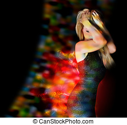 Beauty Nightclub Girl Dancing with Lights - A young girl is...