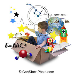 Science Boy in Space Box with Stars - A young boy is using...