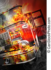 Red Burning Fire Rescue Truck with Flames - A firetruck has...