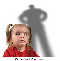 Little Girl and Scary Shadow on White - A little girl is...