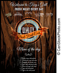 Bistro Grill Restaurant Menu' cover with Vintage distressed...