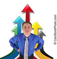 Successful Business Man with Up Arrows - A business man is...