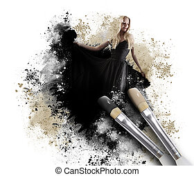 Painting Woman with Artistic Paintbrush - A black paintbrush...
