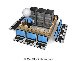 Firewall conceptIsolated on white background3d rendered...