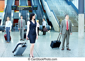 Group of business people in airport.