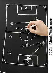 Hand draws a football play on a chalkboard - Male hand draws...