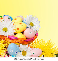 Easter eggs - Beautiful background with Easter eggs Spring...