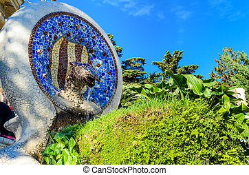 Park Guell in Barcelona, Spain - Sculpture in the Park Guell...