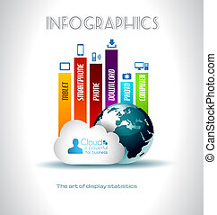 Cloud Computing concept background with a lot of icons:...