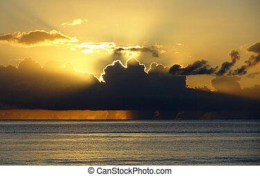 dramatic sundown scenery at Guadeloupe
