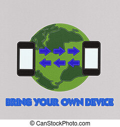 Bring Your Own Device concept with stitch style on fabric...
