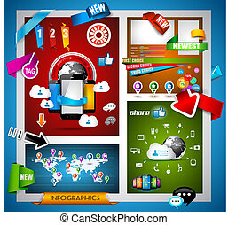 Infographic with Cloud Computing concept - set of paper...